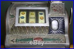 Vintage 1910 Mills Novelty Co. Bell Goose Neck 5 cent Antique Slot Machine Oak