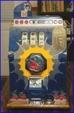 Vintage 1937 Mills Bursting Cherry 5¢ Slot Machine Works Perfectly All Keys