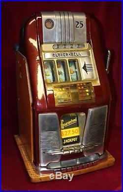 Vintage 1940s Mills High Top 25¢ Clover Bell Slot Machine