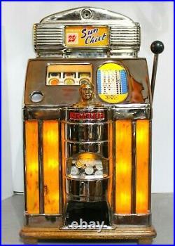 Vintage 25-cent Jennings Sun Chief Tic Tac Toe Light Up Slot Machine 1950s