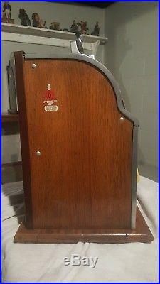 Vintage 5 cent Gooseneck Bell Lion Head Slot Machine 1930's