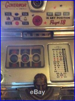 Vintage Antique 1940's 1950's Jennings Indian Head 25 Cent Slot Machine