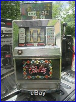 Vintage BALLY 742A 5 Cent Nickel Slot Machine Powers On Selling AS IS Read
