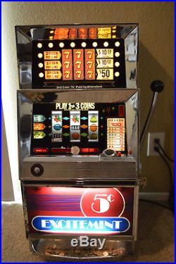 Vintage Bally 1968 MDL 831H Las Vegas Nickel Slot Machine Restored Fully Working