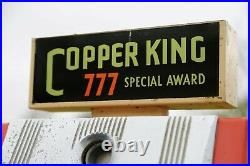 Vintage Buckley Slot Machine Copper King 777 with Key and Coins Works Lighted