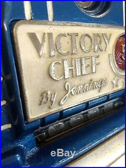 Vintage JENNINGS 5 Cent Victory Chief Casino Slot Machine with BASE STAND