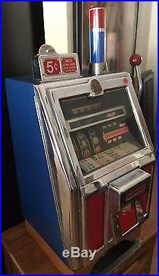 Vintage Jennings 5¢ Tic Tac Toe Slot Machine Oak'ice Box' Base Working Cond