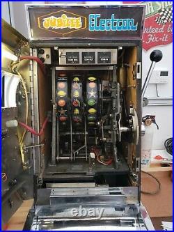 Vintage Jubilee Electron Tic Tac Toe Slot Machine One Arm Bandit 25 cent Quarter