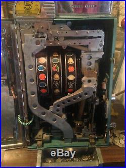 Vintage MILLS 5c Cent 3 Reel SLOT MACHINE -WORKS- Sahara Casino Slot and Stool
