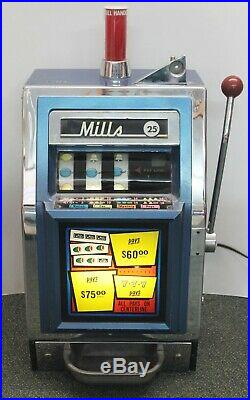 Vintage MILLS COMPACT BELL-O-MATIC 25c Cent 3 Reel Electric SLOT MACHINE -WORKS