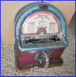 Vintage Mercury Athletic Scale Strength Tester Coin Operated Machine Vending