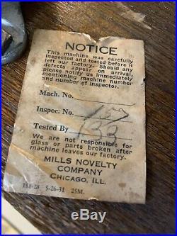 Vintage Mills $. 05 Poinsettia Slot Machine Needs Work