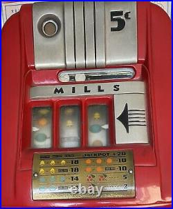 Vintage Mills 5 Cent Slot Machine, Good Condition, Recently Stopped Working