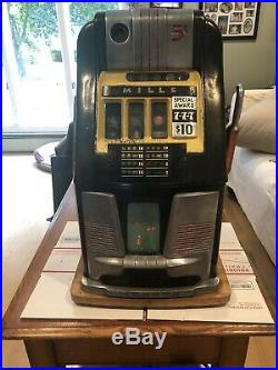 Vintage Mills. 5 Cents High Top 30s-40s Slot Machine Works As Is