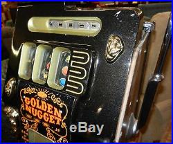 Vintage Mills 5 cent Golden Nugget Slot Machine with Key, Complete, As-Is