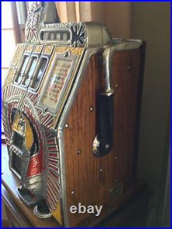 Vintage Mills War Eagle Slot Machine 5-cent With Oak Stand
