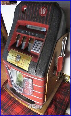 Vintage Original 1948 Mills HT Red Bell 10¢ Slot Machine with Keys, Owners Guide