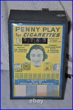 Vintage SMOKES Themed Penny Coin-op Counter Top Gaming Machine READ