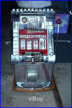 Vintage Silver Palace Slot Machine Mills 25 cent Collectible Slot