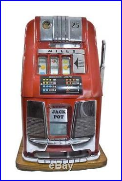 Vintage Slot Machine Red 25 Cent Mills In Working Condition With No Back Cover