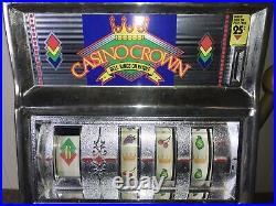 Vintage Waco Casino Crown Novelty Slot Machine 25 Cent Coin Works Read