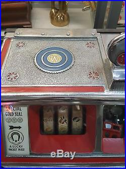 Vintage Watling Baby Twin Jackpot 1933 Golden Coin Gum 1 Cent Penny Slot Machine