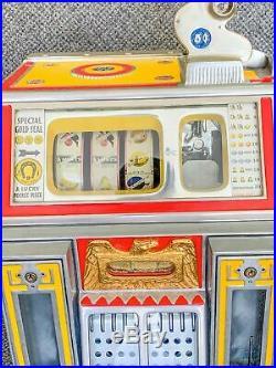 Vintage Watling Twin Jackpot Golden Coin Gum 5 Cent Nickel Slot Machine Working