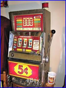 Vtg Bally E-873 Series E 5¢ 5-Line Fruit Slot Machine Golden Nugget Stand Manual