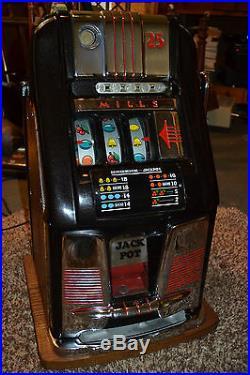 Vtg MILLS Slot Machine Hi Top coin op vending casino antique 25 Cent