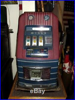 Vtg Mills 5 Cent Slot Machine withKey Very Good Working Condition