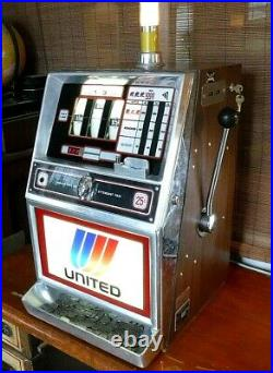 Vtg WORKING Jennings 400 SLOT MACHINE from UNITED AIRLINES from Las Vegas Lounge