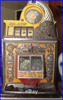Watling Rol-a-top Slot Machine Antique Original 10 Cents
