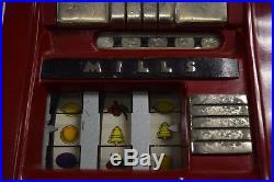 WORKING 1935 MILLS HI-TOP 25c Cent 3 Reel Mechanical SLOT MACHINE