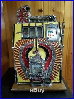 War Eagle Slot Machine Vintage Coin Operated 5 cent WORKING