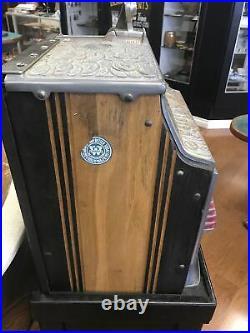 Watling $0.25 Treasury Vintage Slot Machine Rare Working With Original Stand
