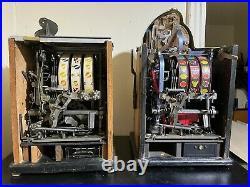 Watling 25 Cent Roll-A-Top & 5 Cent Treasury Mechanical Slot Machine Antique