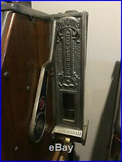 Watling 5 Cent Five Blue Seal Antique Slot Machine with Side Mint Vendor